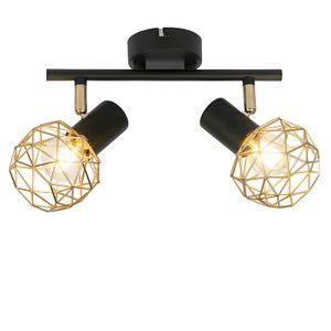 QAZQA - Design Spot | Spotlight | Deckenspot | Deckenstrahler | Strahler | Lampe | Leuchte schwarz mit Gold | Messing 2-flammig-Licht - Mesh | Wohnzimmer | Schlafzimmer | Küche - Stahl Rund - LED geeignet E14