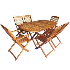 Huicheng 7-tlg. Garten Essgruppe Sitzgruppe Sitzgarnitur mit Klappbar Gartentisch und 6 Klappstühle Massivholz Akazie