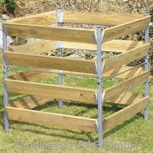 Komposter Holz Metall feuerverzinkt bellissa 90x90x90cm