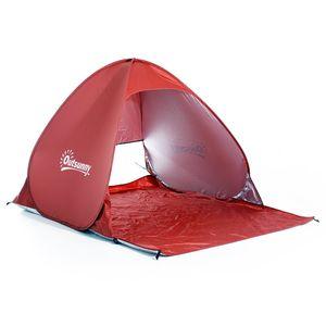 Outsunny Strandmuschel Strandzelt Wurfzelt Pop Up Zelt Campingzelt Automatisch, Polyester, Rot 150 x 200 x 115 cm