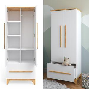 VitaliSpa Kleiderschrank Malia mit Schubfach, verstellbaren Ablagen & Kleiderstange 70 x 187 x 50 cm - in weiß, mit abgerundeten Kanten