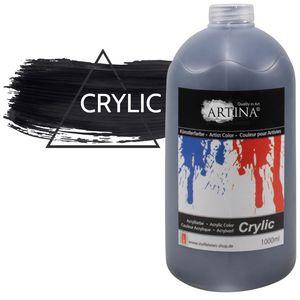 Artina Acrylfarbe 1000 ml, color:Schwarz