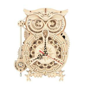 ROKR 3D-Holz-Puzzle Uhr 'Owl Clock' Modellbausatz
