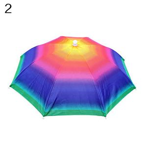 Verstellbares Stirnband Sun Rain Outdoor Sport Faltbarer Angelschirm Hut Regenschutzkappe, Regenbogen