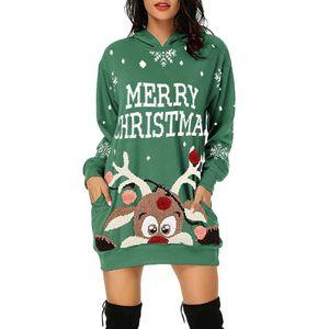 Weihnachten Damen Freizeit Lose Hoodie Minikleid Xmas Grün Langarm Sweatshirt Longtop Kapuzenpullover, Größe: S