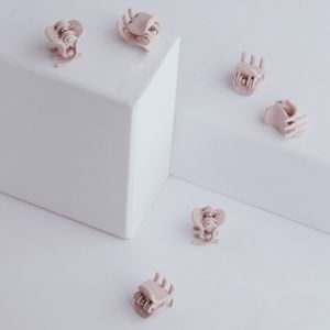 PARSA Beauty Mini Haarklammer aus Weizenstroh 6 Stück, rosa