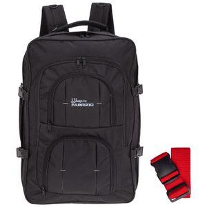 Rucksack Herren Reiserucksack 40 Liter IATA Handgepäck Cabin Pro Schultergurt Laptopfach 10202-0100 Schwarz + Koffergurt