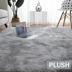 Hochflor Teppich 160x200 cm Langflor Shaggy Teppiche für Wohnzimmer flauschig Bettvorleger Schlafzimmer Outdoor Grau