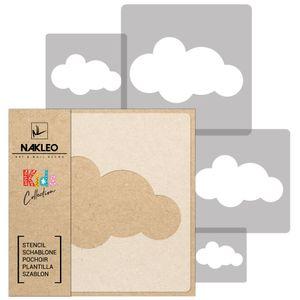 5 Stück wiederverwendbare Kunststoff-Schablonen // CLOUD # 2 // 34x34cm bis 9x9cm // Kinderzimmer-Dekoration // Kinderzimmer-Vorlage