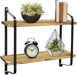 Hängeregal Wandregal Industrial Metall/Holz 2 Ablagen Küche Arbeitszimmer Regal