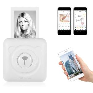 Mini Fotodrucker Tasche, kabellos Thermodrucker Drucker mit USB Kabel, Unterstützung für Android iOS weiß