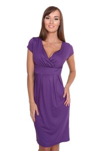 UmstandsKleid V-Ausschnitt mit Raffungen, Violett L/XL 40/42