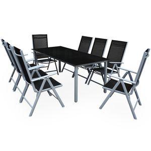 Casaria Alu Sitzgruppe Bern 8 Klappstühle 7-Fach Verstellbar Gartentisch 190x90cm Sitzgarnitur Gartenmöbel Set Garten , Farbe:silber