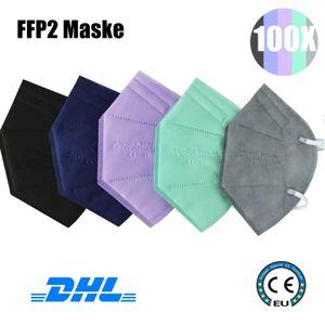100 Stück FFP2 Maske Mundschutzmaske Mund-Nasenschutz Masken Atemschutzmaske Bunte Masken mit CE0161