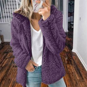 Mode Frauen lässig Kapuze Plüsch warme Jacken Reißverschluss Cardigan Tops Mantel Größe:XL,Farbe:Lila