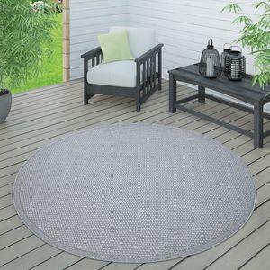 In- & Outdoor Teppich, Terrasse u. Balkon, Wetterfest Einfarbig Mit Struktur, Grösse:160 cm Rund, Farbe:Grau