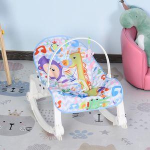 HOMCOM Babywippe Babywiege vibrierende Schaukelwippe 2 in 1 Schaukelsitz mit Musik Fest- und Schaukelstuhl-Modi für 0-6 Monate ABS Affenmuster 51,4 x 68,6 x 55,9 cm