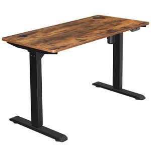 SONGMICS Elektrischer Schreibtisch, Schreibtischständer, Tischgestell mit Motor, stufenlose Höhenverstellung, 120 x 60 x (73-114) cm, Stahl, vintagebraun-schwarz LSD011B01