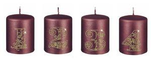 4er Set Adventskerzen 1 - 4 in Burgundy Metallic