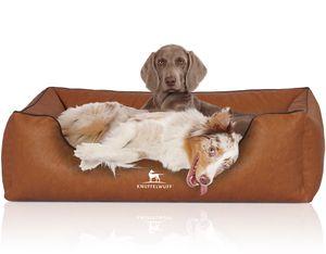 Knuffelwuff Hundebett Henderson aus marmoriertem Kunstleder XL 105 x 75cm Rusty