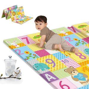 Krabbelmatte Spielmatte Faltbar doppelseitig Spielunterlage Spielteppich Baby Matte Tragbar Wasserdicht Bunt 180x100cm (Grün)