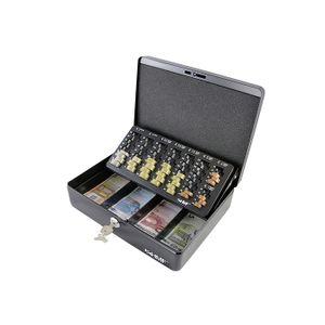 HMF 10015-02 Geldkassette mit Euro Münzzählbrett, 30 x 24 x 9 cm, schwarz