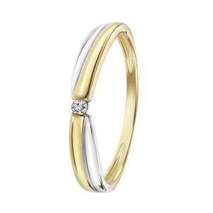 Zweifarbiger Ring 14 Karat mit Diamant -  58