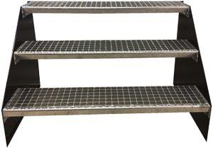 3 stufige freistehende Stahltreppe Standtreppe Breite 60cm / Geschosshöhe 63cm Schwarz