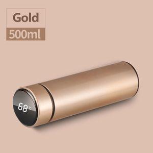 Thermosflasche, 500ml Wasserflasche Vakuum Isolierbecher 304 Edelstahl, LED-Touchscreen-Temperaturanzeige, Smart Becher Dichtflasche Ideal für Hitze und Kälte (Gold)