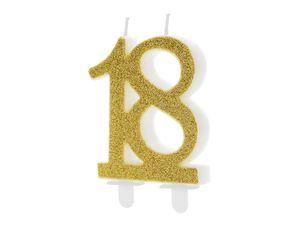 Geburtstagskerzen 18 Jahre 7.5cm, gold / glitzer