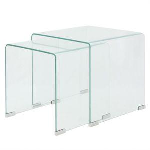 vidaXL Zweiteiliges Satztisch-Set aus gehärtetem Glas Transparent