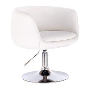 WOLTU BH78ws 1 x Barsessel Loungesessel Cocktailsessel mit Armlehne, stufenlose Höhenverstellung, Kunstleder, Weiß