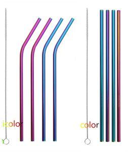 8-tlg Edelstahl Strohhalme Metall Trinkhalme Straw Reinigungsbürstet,Regenbogen