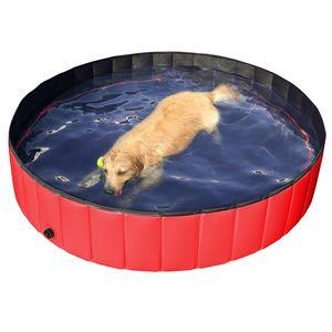 Yaheetech Hundepool 160 x 30 cm Swimmingpool, Planschbecken, Hundebadewanne, Faltbarer Pool, Badewanne Wasserbecken für Hunde