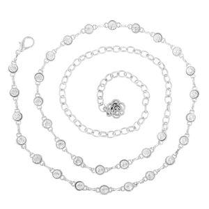 Mode Metall Dünne Taille Gürtel Kettengürtel für Kleid Farbe Stil 3 Silber