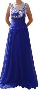 langes Abendkleid DH1503 blau mit Blumenmuster Gr. S 36 Ballkleid Brautjungfern Kleid Hochzeit Frau Damenkleid elegant  Frauen Dame Damen Hochzeitskleid