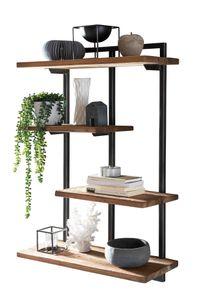 SIT Möbel Wandregal mit 4 Böden | Teak-Holz natur | Gestell Metall schwarz | B 70 x T 25 x H 97 cm | 07996-32 | Serie ROMANTEAKA