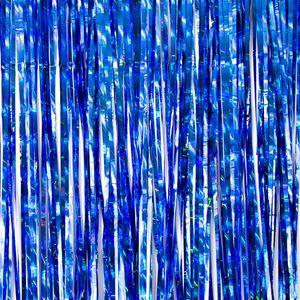 Oblique Unique Lametta Vorhang für Weihnachten Silvester Geburtstag Deko Party Fasching Karneval - irisierend dunkelblau