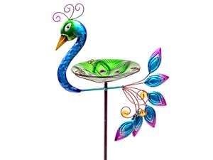 Formano Stecker Pfau Metall Gartenstecker 80 cm hoch Vogeltränke Metall Glas