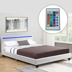 Juskys Polsterbett Verona 120 x 200 cm – Bettgestell mit LED-Beleuchtung, Lattenrost & Kopfteil – Bett aus Holz & Kunstleder – Jugendbett in Weiß