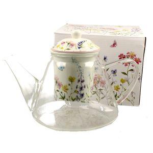 Teekanne GLAS Kaffeekanne Glaskanne Teebereiter mit Teesieb DUO FLOWER 1,2 l