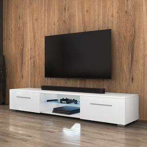 Selsey TV-Lowboard SYVIS Korpus in Weiß Matt Fronten in Weiß Hochglanz mit LED-Beleuchtung in Blau 140 cm