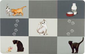 Trixie Napfunterlage - Patchwork Cat, 44x28 cm, grau