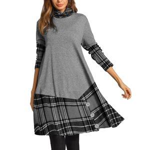 Frauen Plaid Stitching Dress Langarm Button Decor Loose Casual Langes Kleid für den Frühling Herbst