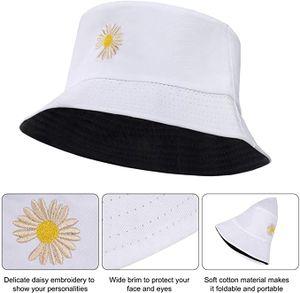 Fischerhut Unisex Reversibel Baumwolle Gänseblümchen Bucket Hat für Wandern Camping Strand 56-58 cm