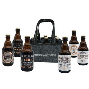 Jack's Männerhandtasche für den ANGLER / Biergeschenk für Männer / gefüllt mit 6 Bierflaschen 🍻 / witzige Sprüche / Herrengeschenk / Partygeschenk 🎁 / Sixpack / für echte Männer