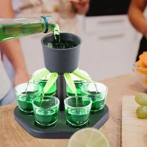 Schnapsglasspender Schnapsglas Spiele Spender Wein Whisky Bier Wein Schnaps Spender Bar Zubehör Party Spiele Trinkwerkzeuge Glasspender mit 6 Acrylbecher