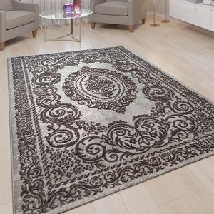 Kurzflor Wohnzimmer Teppich 3-D-Optik Ornamente Bordüre Orient Muster In Grau, Grösse:200x290 cm