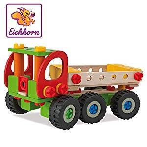 Eichhorn 100039039 - Constructor Kranwagen, 190-tlg., Holz-Konstruktions-Set, 4 verschiedene Modellvarianten baubar,100% es Buchenholz,  Germany