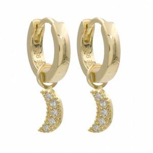 Creolen - Silber gold - Anhänger Mond Steine